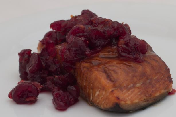 Cedar Planked Fresh Salmon Fillet With Spiced Cranberry Relish