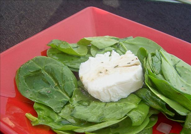 Goat Cheese and Spinach Salad With Warm Vinaigrette