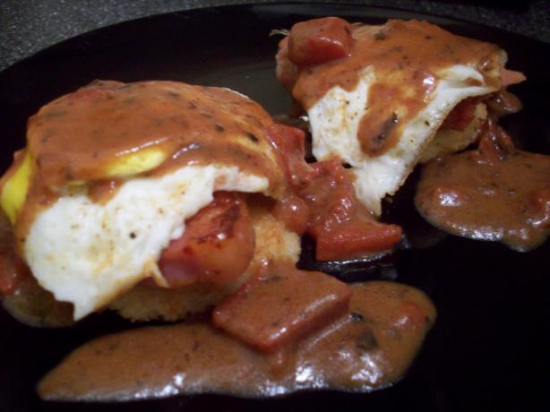 Fried Grit Cakes With Eggs and Tomato Gravy