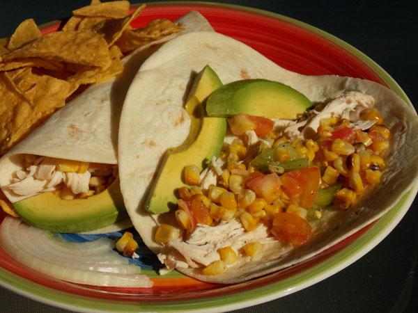 Shredded Chicken Tacos With Tomatoes and Grilled Corn