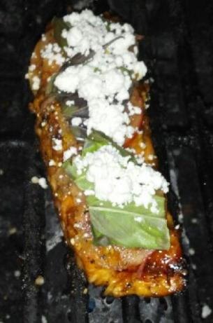Marinated Grilled Salmon With Tomato, Basil, and Goat Cheese
