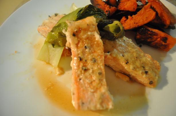 Grilled Salmon With Baby Bok Chop