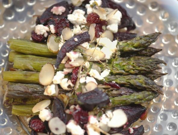 Roasted Fresh Asparagus, Beets, and Goat Cheese Medley