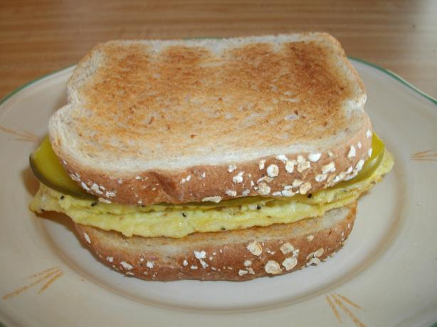 Mothers Scrambled Egg and Dill Pickle Sandwich