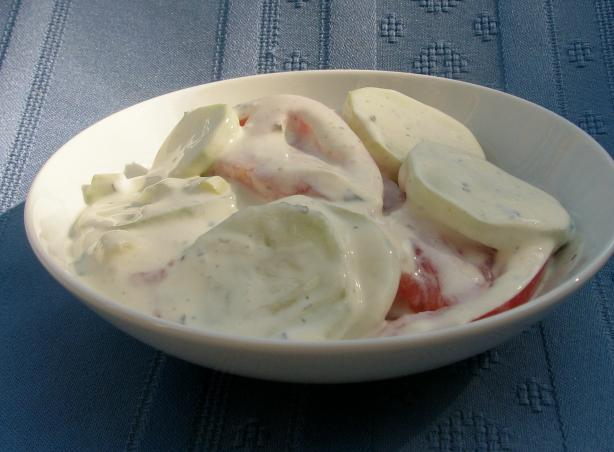 German Cucumber Salad with Sour Cream