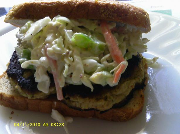 Salmon Burgers and Vegetable Slaw