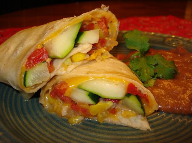 Mexican Zucchini and Corn Burrito