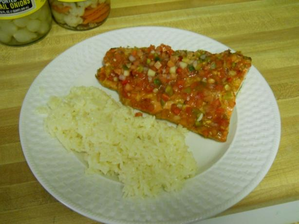 Salsa and Mango-Pepper Crusted Salmon