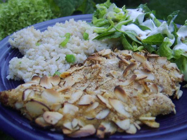 Almond-Crusted Chicken With Scallion Rice