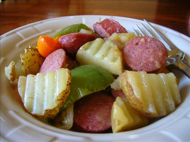 Smoked Sausage, Taters, Peppers and Onions Country Style