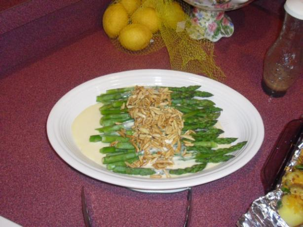 Asparagus With Creamy Mustard Sauce and Buttered Almonds