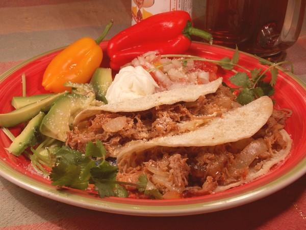 Shredded Carnitas Soft Shell Taco With Pepper Jack
