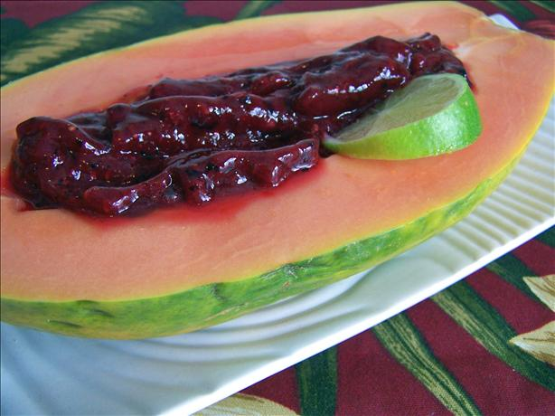 Papaya With Raspberry-Lime Sauce