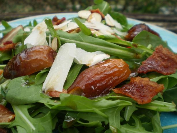 Arugula Salad With Bacon, Dates, Almonds and Parmesan