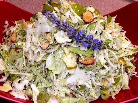Coleslaw With Grapes, Crunchy Apple Chips and Almonds