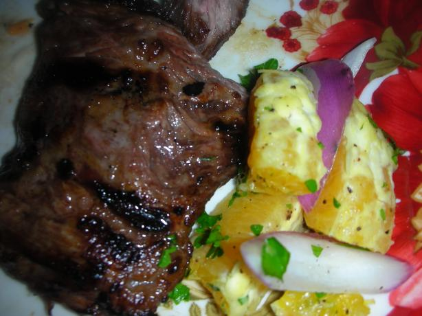 Cuban Steak With Garlic Citrus Marinade and Salsa Recipe