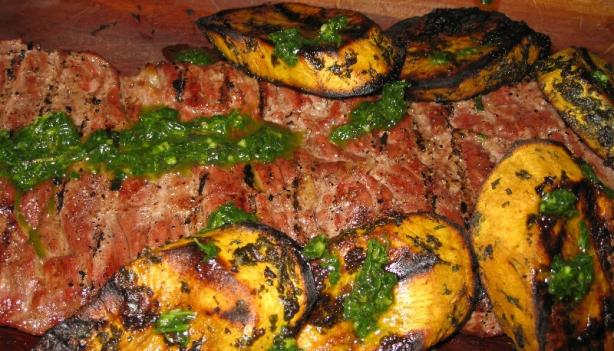 Grilled Skirt Steak and Sweet Potatoes With Herb Sauce
