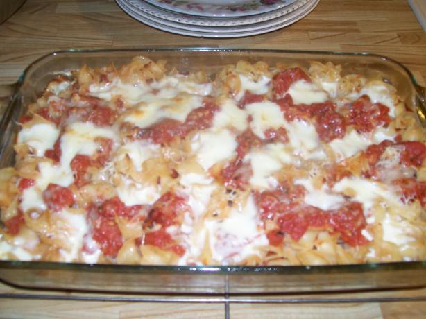 Pasta, Tomato, and Mozzarella Al Forno