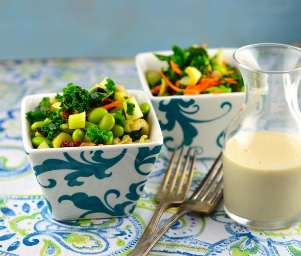 Raw Kale Salad With Tahini Dressing