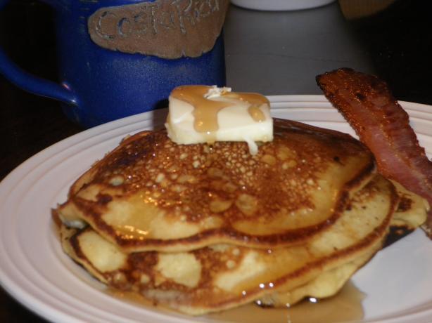 Lemon Buttercream Pancakes With Blueberries