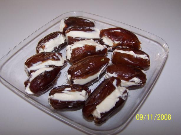 Dates Stuffed with Cream Cheese and Pecans