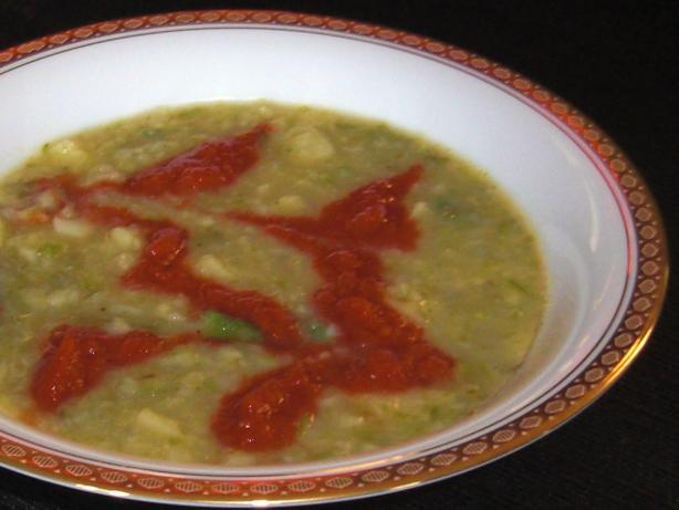 Asparagus and Yukon Gold Potato Soup With Roasted Tomatoes (Spar