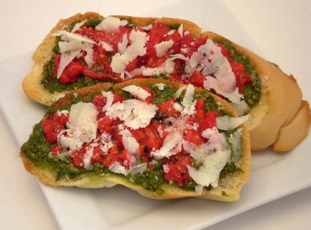 Pesto, Roasted Red Pepper and Parmesan Bruschetta