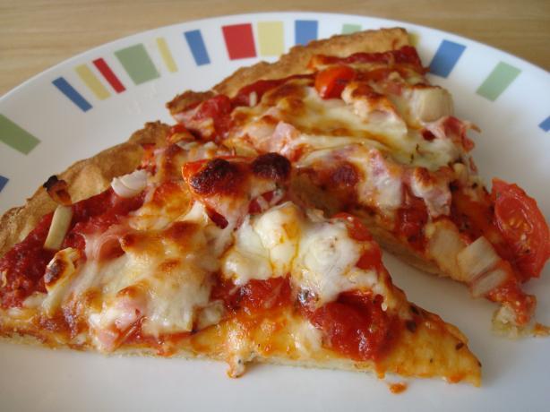 Ham, Cheese, and Tomato Pizza