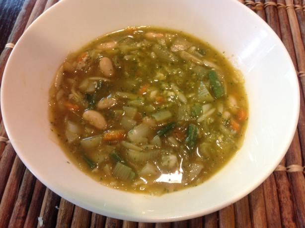 Winter Vegetable and Bean Soup With Pesto