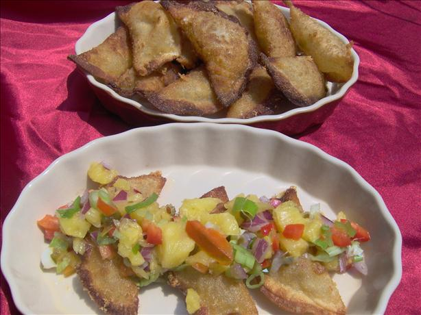 Green Chile Wontons With Pineapple Salsa