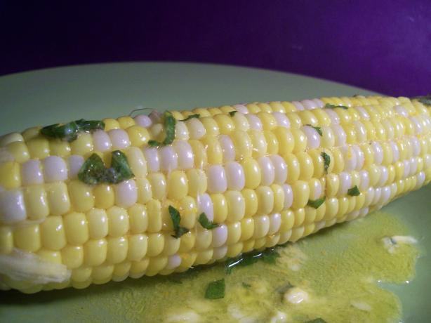 Steamed Corn With Basil Butter