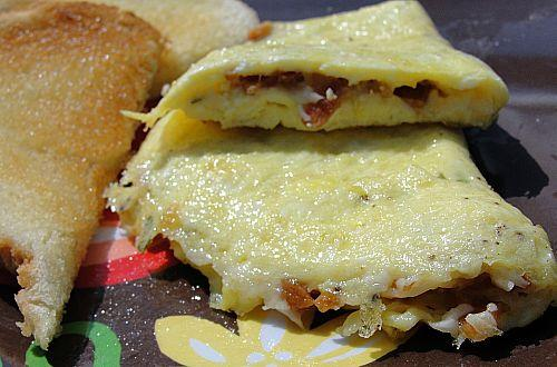 Omelet With Bacon and Parmesan Cheese