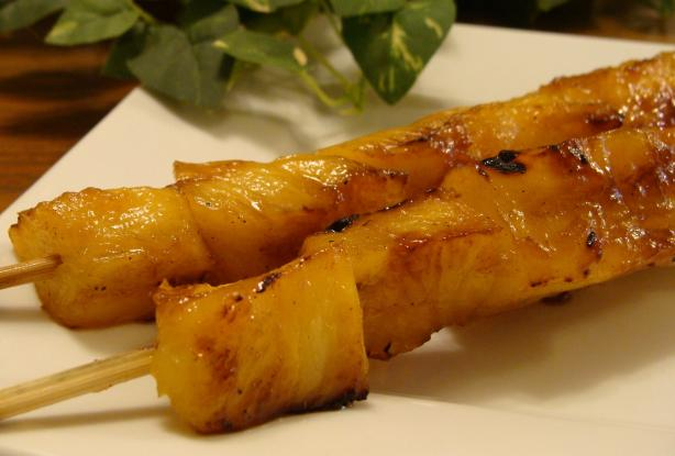Grilled Pineapple Kebabs With Tequila-Brown Sugar Glaze