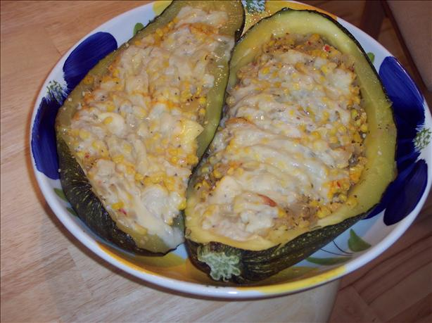 Zucchini Stuffed With Corn, Chilies and Cheese (Meatless)