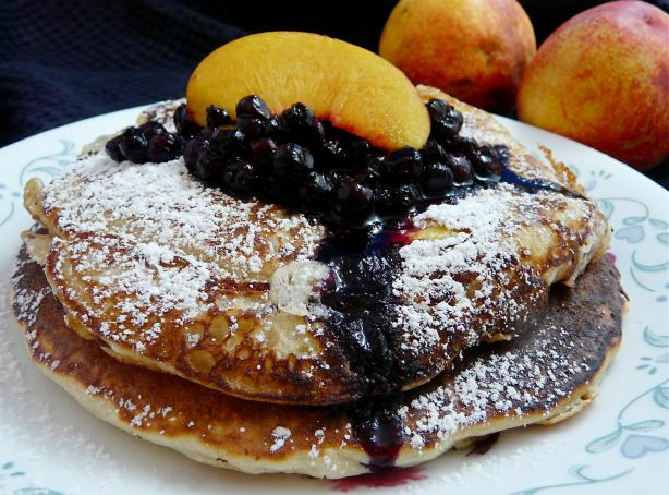 Tasty Nectarine Buttermilk Pancakes & Wild Blueberry Sauce