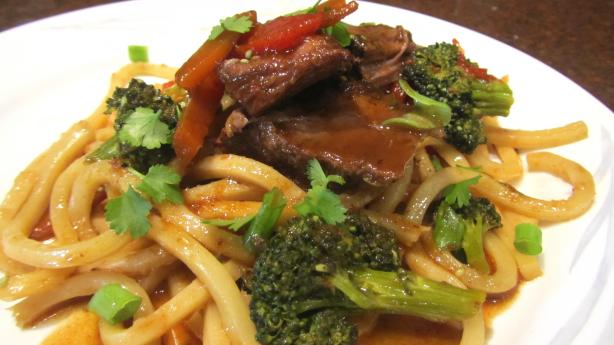 Asian Chuck Pot Roast With Veggies and Udon Noodle