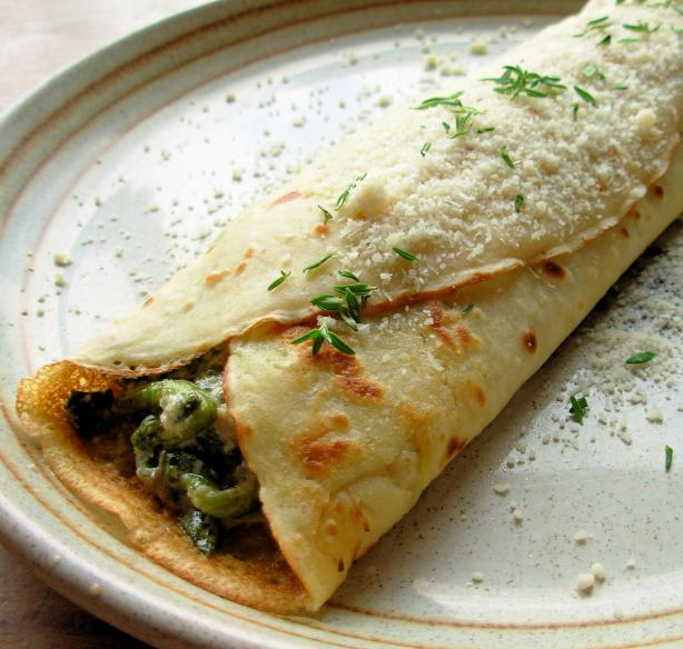 Savory Mushroom, Spinach & Cheese Crepes