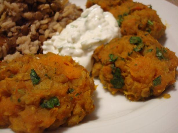 Baked Butternut Falafels With Cucumber Yogurt Dip