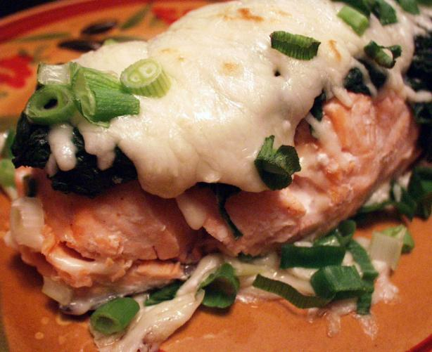 Poached Salmon With Spinach and Cheese