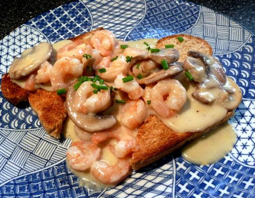 Shrimp Newburg on Toast Points