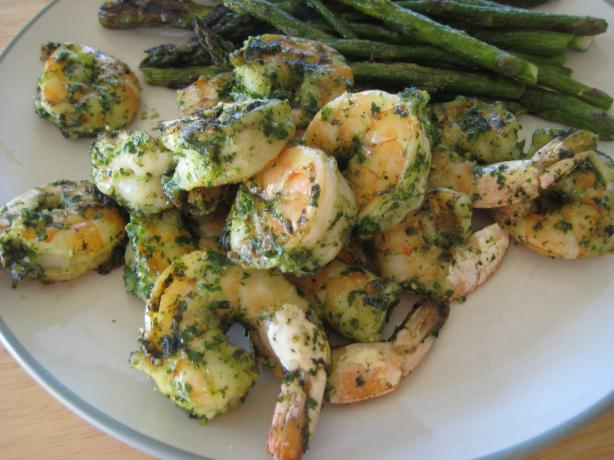 Cilantro Pesto Grilled Shrimp
