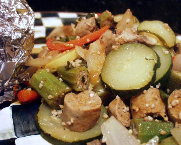 Grilled Italian Sausage Veggies in Foil