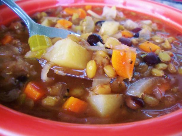 Easy Tasty Hearty Lentil Black Bean Stew