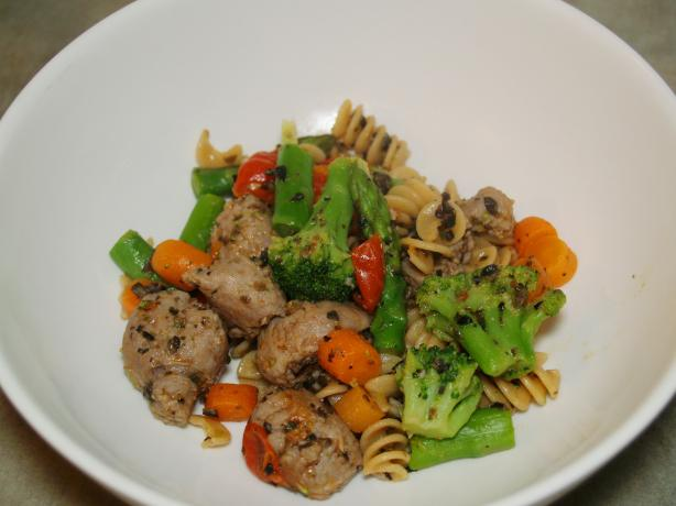 Whole Wheat Fusilli With Vegetables and Turkey Sausage