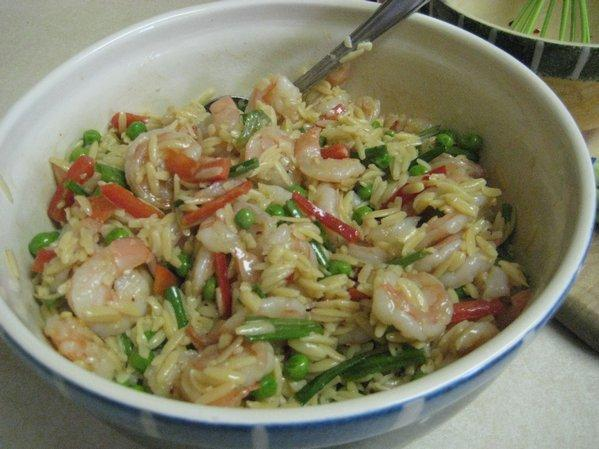 Orzo Salad With Shrimp and Double Peppers