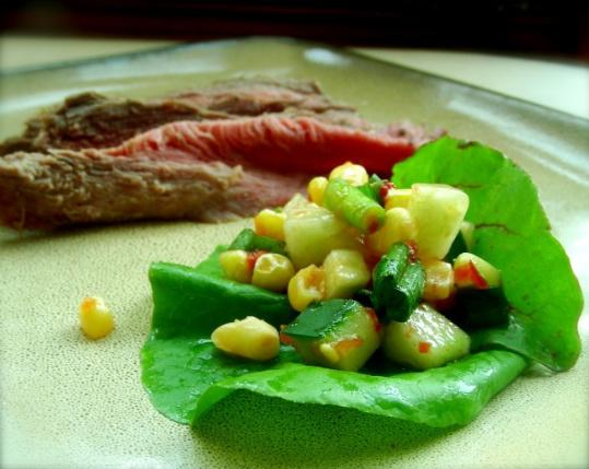Roast Beef With Cucumber-Corn Salsa