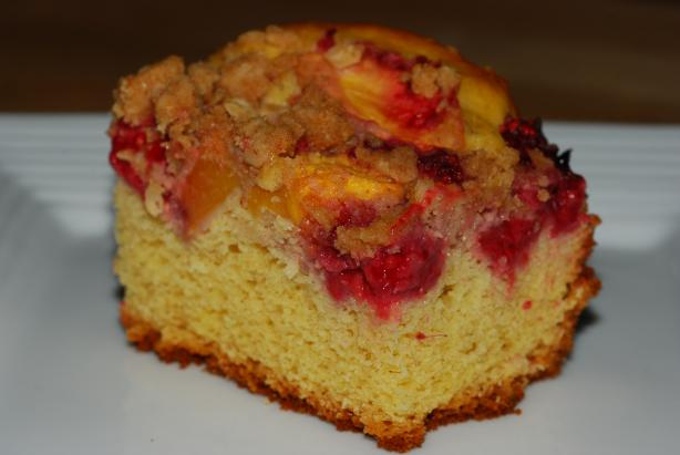Blueberry Peach Streusel Cake