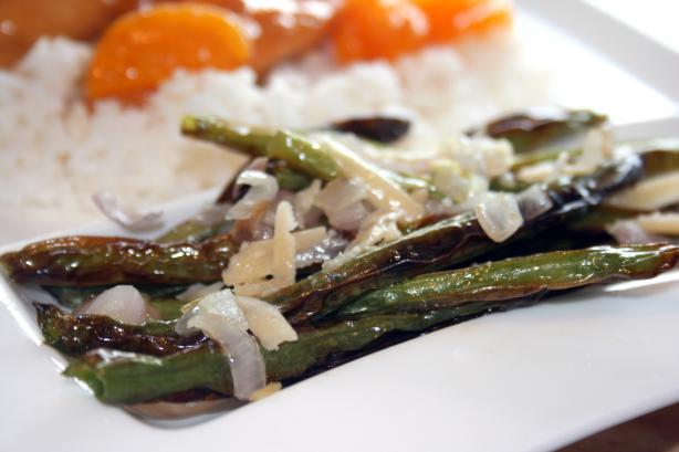 Roasted Green Beans With Shallots & Asiago Cheese