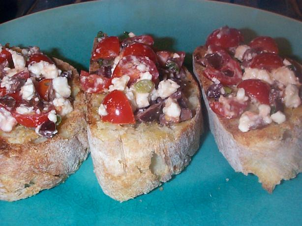 Tomatoes, Feta and Black Olives Bruschetta