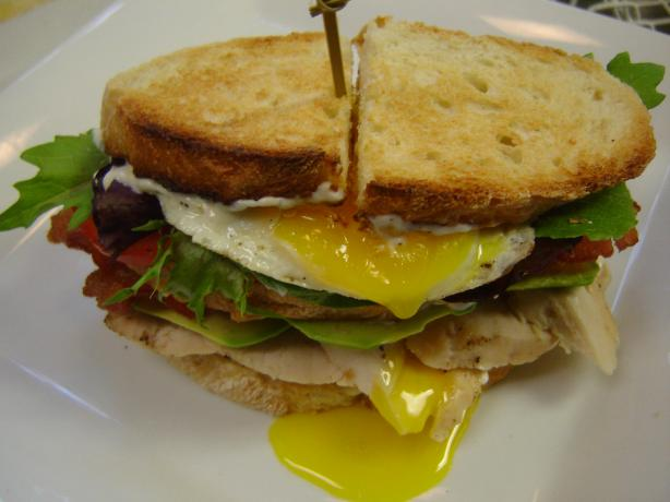 Grilled Chicken Club With Avocado and Fried Egg